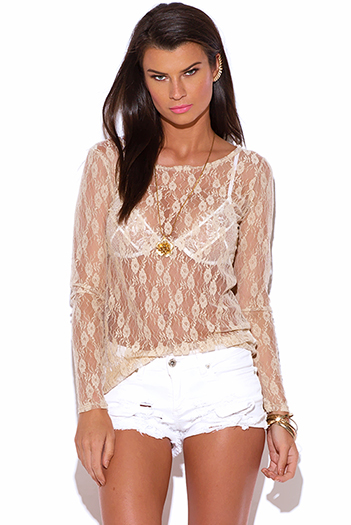 $5 - Cute cheap pink fitted sexy party top - beige lace see through fitted party top