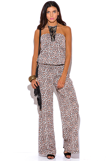 $30 - Cute cheap white low v neck animal print wide leg 2fer evening sexy party jumpsuit - bejeweled animal print halter wide leg boho jumpsuit