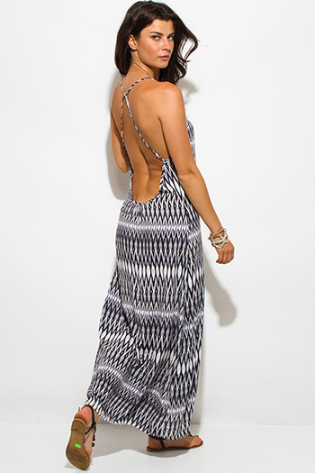 $15 - Cute cheap clothes - black abstract ethnic print backless cross back bejeweled evening sexy party maxi sun dress
