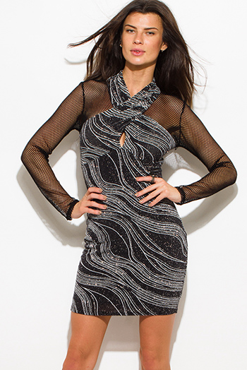 $15 - Cute cheap bodycon party dress - black abstract print shimmery metallic long sleeve fishnet mesh contrast cut out wrap front halter bodycon fitted sexy club mini dress