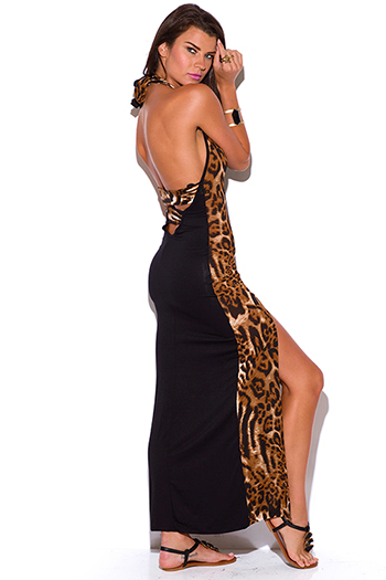 $20 - Cute cheap print draped backless dress - black and leopard animal print cut out backless high slit fitted jersey maxi dress