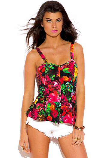 $7 - Cute cheap orange pink floral print one piece bikini swimsuit - black and multicolor floral print peplum sexy party top