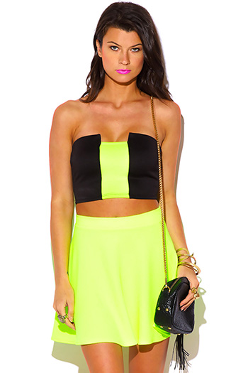 $3 - Cute cheap color block fringe top - black neon green stripe color block strapless crop bandeau tube top