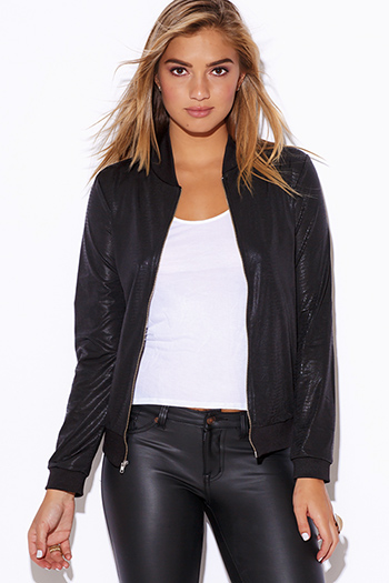 $15 - Cute cheap golden fox black faux leather wrap bracelet 82197 - black animal print faux leather coated zip up long sleeve bomber jacket top