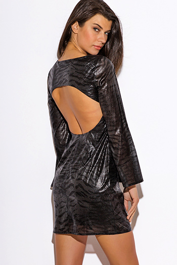 $5 - Cute cheap black abstract print shimmery metallic long sleeve fishnet mesh contrast cut out wrap front halter bodycon fitted sexy club mini dress - black metallic zebra animal print long sleeve backless club mini dress