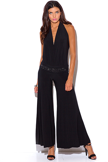 $15 - Cute cheap cute womens shorts attached black lace wide leg pants - black backless rhinestone bejeweled low v neck halter wide leg evening sexy party jumpsuit