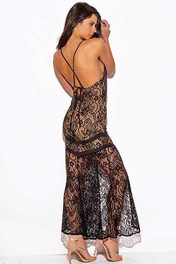 $15 - Cute cheap lace slit cocktail dress - black baroque lace high slit backless fitted formal evening cocktail sexy party maxi dress