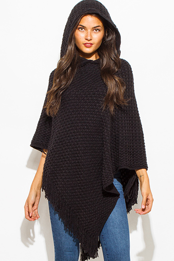 $20 - Cute cheap black chiffon tunic - black basket weave hooded fringe trim sweater knit poncho tunic top