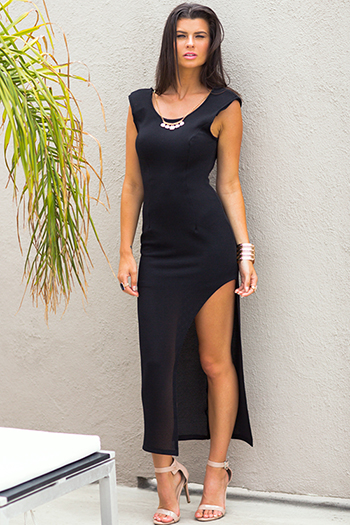 $25 - Cute cheap bright white ruched deep v high slit evening maxi dress 99450 - black bejeweled asymmetrical high slit backless evening sexy party fitted ankle maxi dress