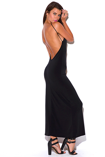 $10 - Cute cheap black open back maxi dress - black bejeweled halter backless fitted evening sexy party maxi dress