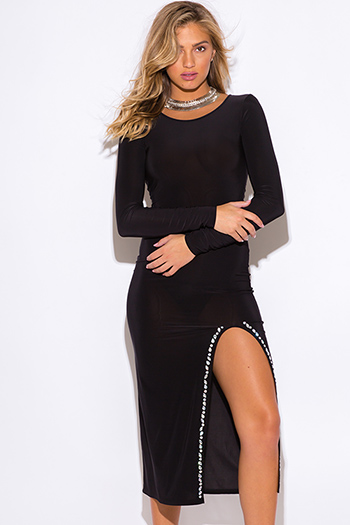 $15 - Cute cheap black sheer embroidered sheer mesh maxi dress 86973 - black bejeweled high slit long sleeve evening cocktail party fitted bodycon sexy club ankle maxi dress