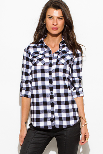 $15 - Cute cheap black long sleeve blouse - black checker plaid flannel long sleeve button up blouse top