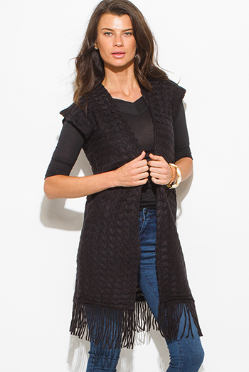 $15 - Cute cheap black perforated faux leather open cardigan duster coat 91455 - black chevron crochet knit fringe trim sleeveless open front duster cardigan top