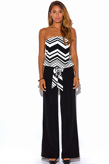 $25 - Cute cheap red yellow abstract print strapless sexy party jumpsuit 79510 - black chevron print strapless evening party wide leg jumpsuit