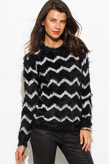 $15 - Cute cheap stripe long sleeve sweater - black chevron stripe textured long sleeve fuzzy sweater knit top