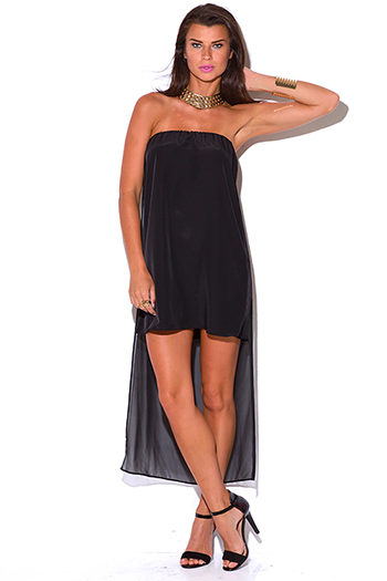 $5 - Cute cheap strapless evening dress - black chiffon cape high low strapless cocktail sexy party mini dress