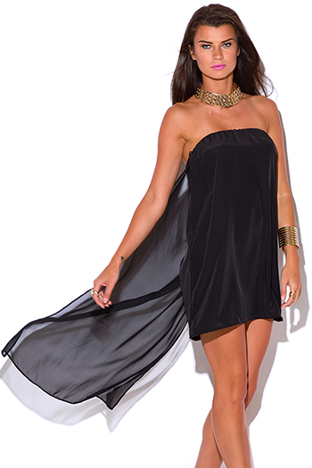 $5 - Cute cheap gold metallic print beige chiffon cape one shoulder cocktail sexy party mini dress - black chiffon cape high low strapless cocktail party mini dress