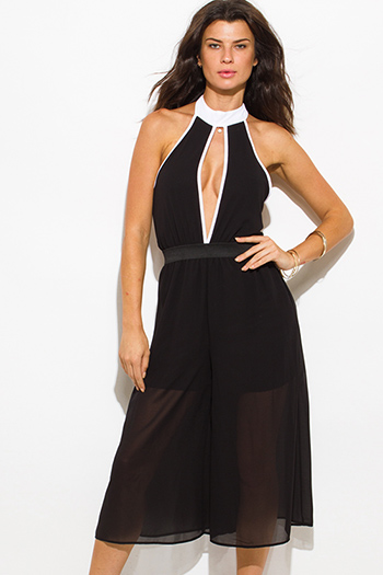 $25 - Cute cheap high neck backless jumpsuit - black chiffon color block cut out high neck backless cropped sexy clubbing midi jumpsuit