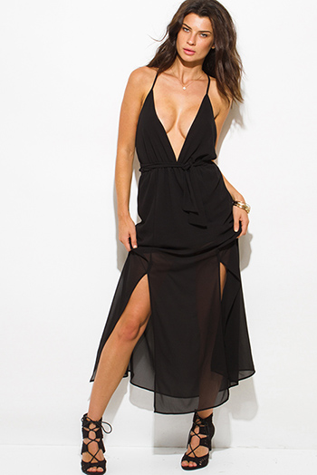 $25 - Cute cheap open back sexy party maxi dress - black chiffon deep v neck double high slit criss cross backless evening party maxi dress