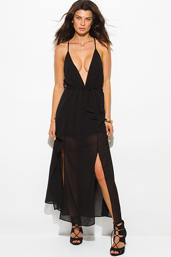 $20 - Cute cheap black ruffle dress - black chiffon deep v neck double high slit criss cross backless evening sexy party maxi dress