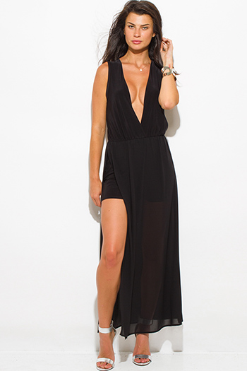 $20 - Cute cheap summer dress - black chiffon deep v neck double high slit sleeveless evening sexy party maxi dress
