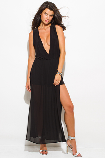 $20 - Cute cheap black ruffle dress - black chiffon deep v neck double high slit sleeveless evening sexy party maxi dress