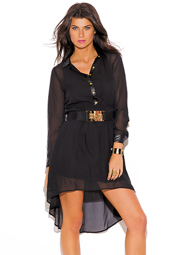 $10 - Cute cheap high low dress - black chiffon faux leather collar long sleeve boho high low shirt dress