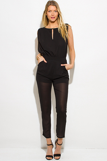 $25 - Cute cheap black strapless belted high waisted crochet jumpsuit - black chiffon golden chain embellished pocketed sexy clubbing jumpsuit