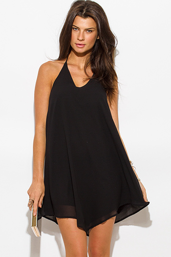 $15 - Cute cheap open back sexy party mini dress - black chiffon halter backless asymmetrical hem mini cocktail party dress