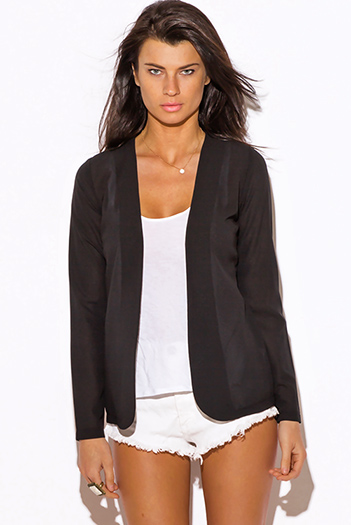$15 - Cute cheap jacket - black long sleeve crepe suiting blazer top