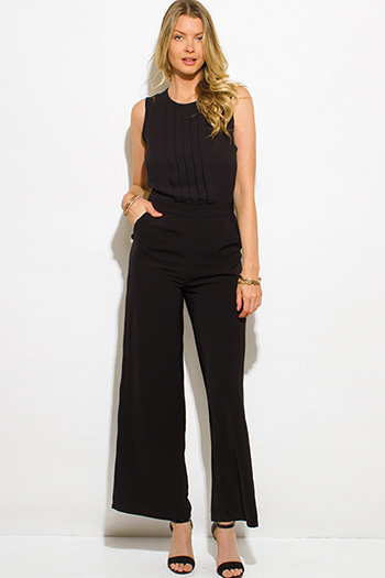 $20 - Cute cheap chiffon lace fringe jumpsuit - black chiffon pleated sleeveless pocketed wide leg evening sexy party jumpsuit