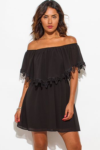 $10 - Cute cheap off shoulder mini dress - black chiffon ruffle off shoulder crochet trim boho mini sun dress