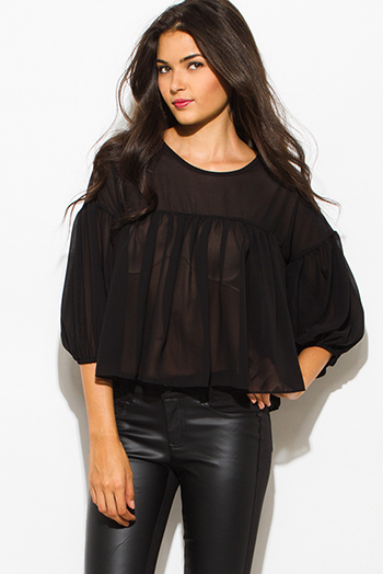$15 - Cute cheap chiffon slit boho top - black chiffon shirred quarter length blouson sleeve boho blouse top
