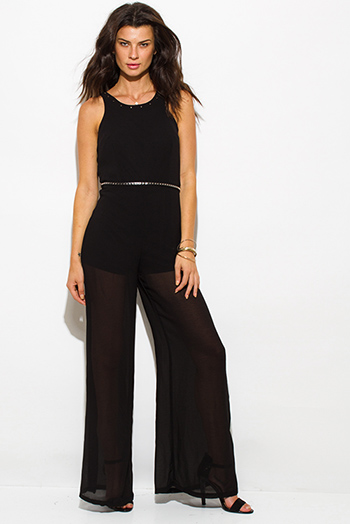 $20 - Cute cheap cherry red lace sweetheart cut out wide leg sexy party jumpsuit 99316 - black chiffon sleeveless belted studded racer back wide leg evening party jumpsuit