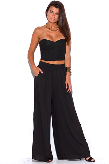 $20 - Cute cheap cute womens shorts attached black lace wide leg pants - black chiffon wide leg pocketed palazzo pants