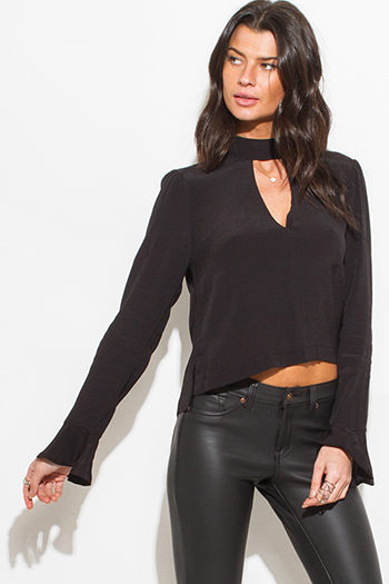 $15 - Cute cheap black laceup indian collar quarter sleeve boho blouse top - black choker mock neck cut out long bell sleeve boho blouse top