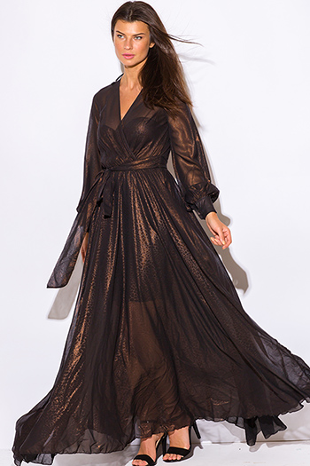 $65 - Cute cheap wrap evening dress - black copper gold metallic chiffon blouson long sleeve formal evening sexy party maxi dress