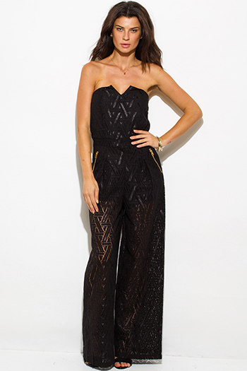 $20 - Cute cheap clothes - black cotton crochet lace strapless pocketed wide leg evening sexy party jumpsuit