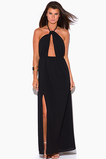 $15 - Cute cheap crepe sexy party maxi dress - black crepe cut out high slit rope halter wrap neck backless formal evening party maxi dress