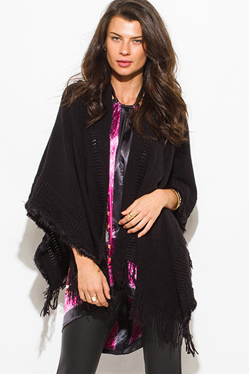 $15 - Cute cheap black crochet knit fringe trim open front shawl poncho cardigan jacket