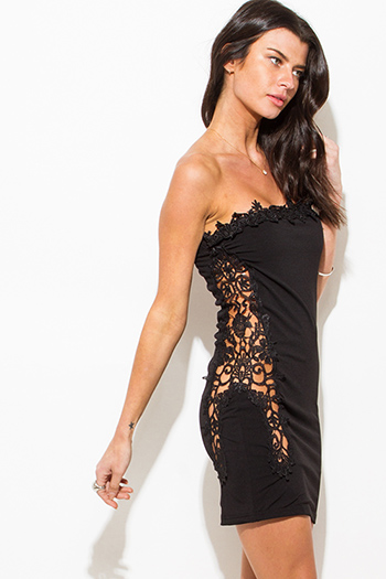 $15 - Cute cheap lace crochet party dress - black crochet lace contrast strapless bodycon fitted sexy clubbing mini dress