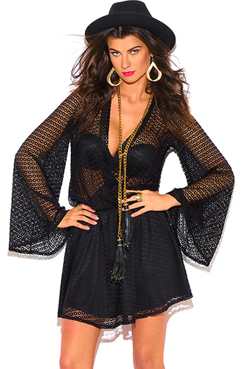 $10 - Cute cheap black abstract print shimmery metallic long sleeve fishnet mesh contrast cut out wrap front halter bodycon fitted sexy club mini dress - black crochet lace wrap long bell sleeve cut out backless boho mini dress