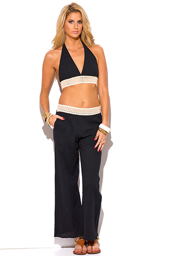 $15 - Cute cheap black cotton bodysuit - black crochet trim cotton gauze boho resort wide leg pants