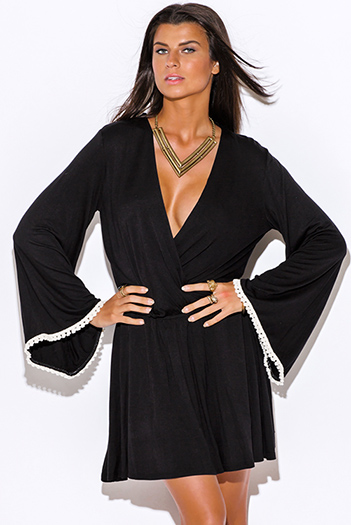 $10 - Cute cheap black faux leather deep v neck long sleeve button up bodycon fitted sexy clubbing mini dress - black crochet trim low v neck backless long kimono bell sleeve boho mini dress