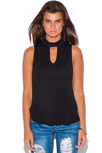 $10 - Cute cheap cut out sides banded waisted tank top - black cut out high neck tank top