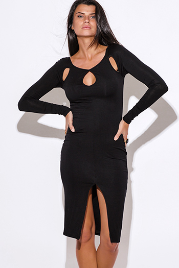 $20 - Cute cheap black slit sexy club dress - black cut out neck long sleeve high slit bodycon fitted open back club party midi dress