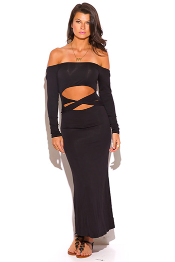 $10 - Cute cheap off shoulder crochet dress - black cut out off shoulder bow tie long sleeve fitted maxi dress