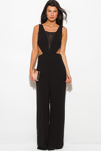 $30 - Cute cheap black cut out jumpsuit - black cut out open back wide leg evening sexy party backless jumpsuit