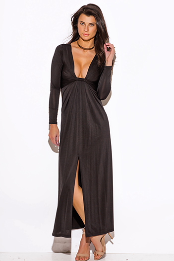 $15 - Cute cheap black slit open back sexy party dress - black deep v neck knot high slit long sleeve formal evening party maxi dress