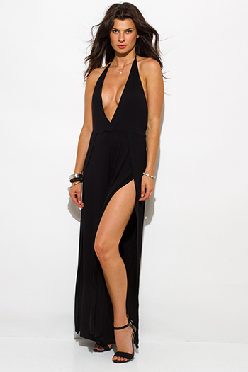 $20 - Cute cheap black v neck sexy party jumpsuit - black deep v neck high slit wide leg evening party jumpsuit